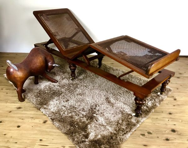 19th Century Walnut Wooden Reclining Lounger With Cane Seat and Ceramic Casters
